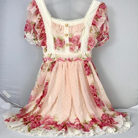 a74aedfe67e Liz Lisa Dresses   Skirts - Liz Lisa Pink Rose Lace Floral Chiffon Dress